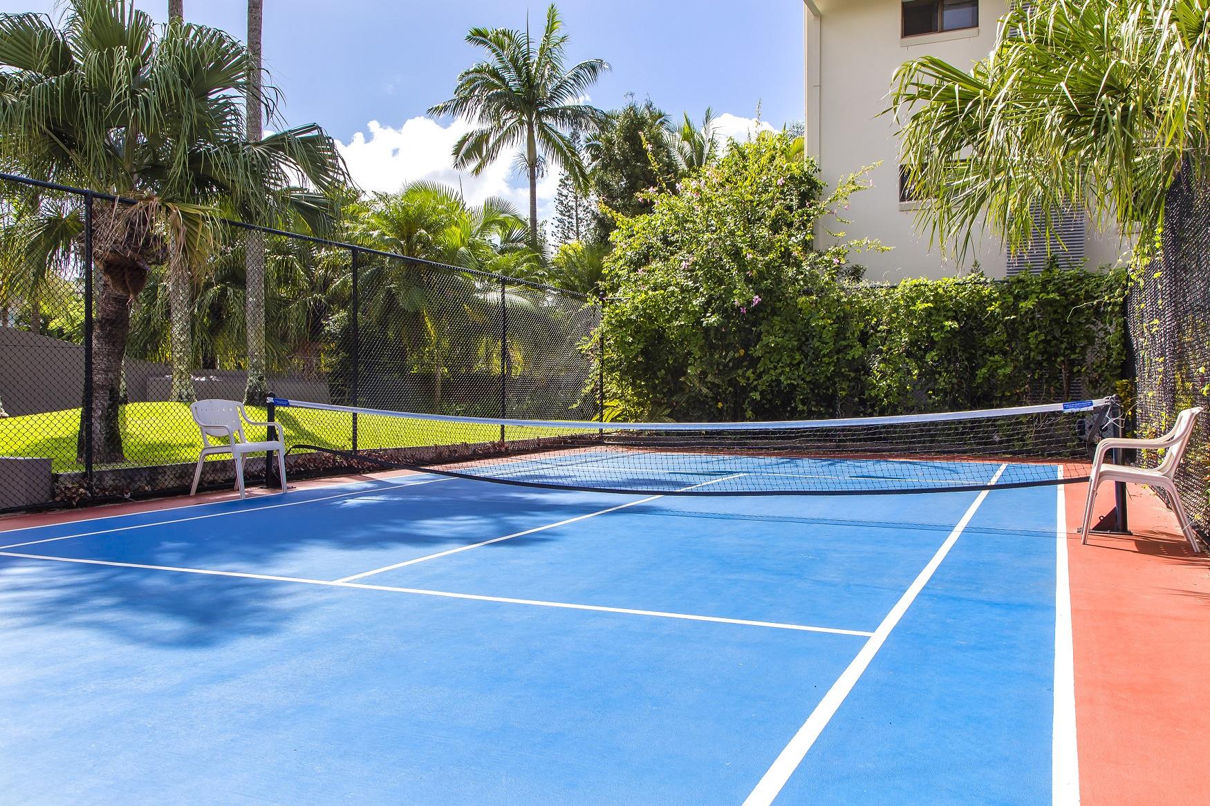 Half-size tennis court